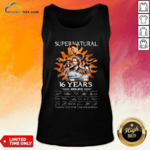 Supernatural 16 Years 2005 2021 Thank You For The Memories Signatures Tank Top - Design By Weathertees.com