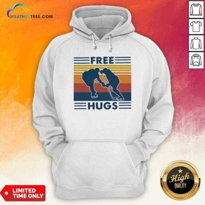 Free Hugs Vintage Retro Hoodie - Design By Weathertees.com