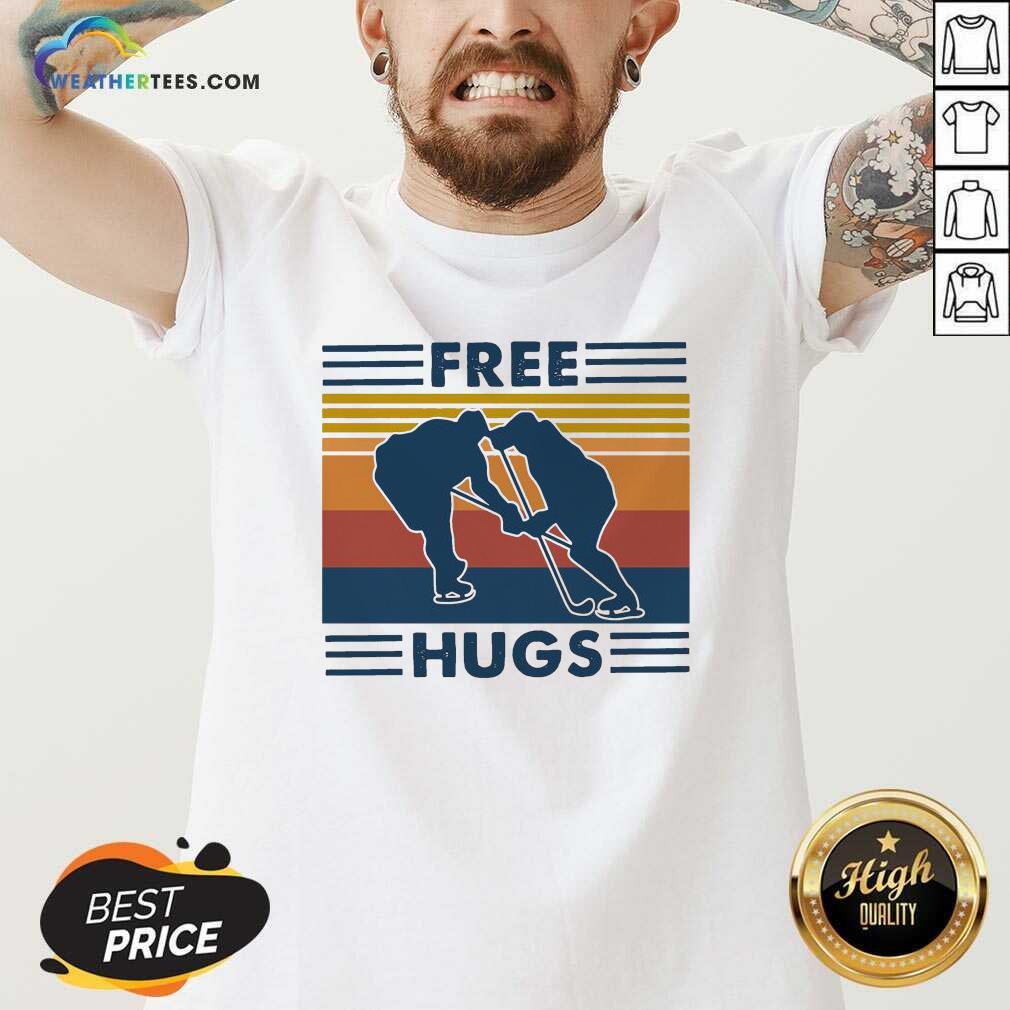 Free Hugs Vintage Retro V-neck - Design By Weathertees.com