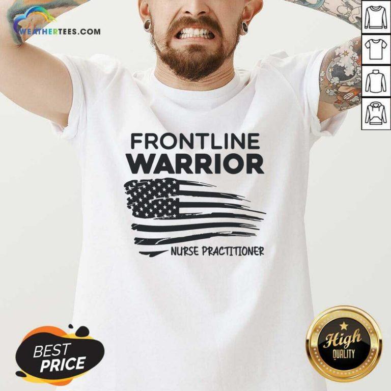 Frontline Warrior Nurse Practitioner American Flag V-neck - Design By Weathertees.com