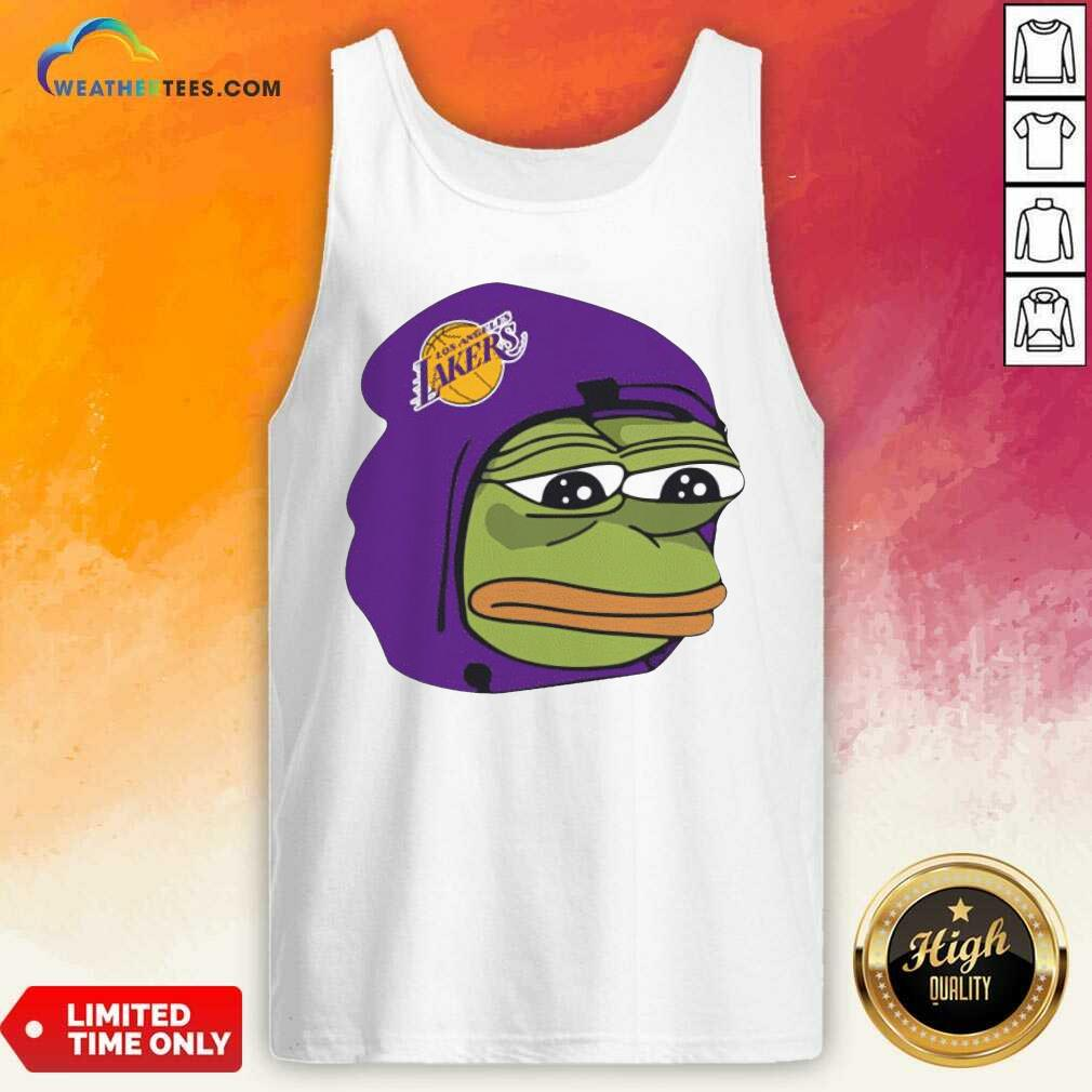 Los Angeles Lakers Sad Pepe The Frog Tank Top - Design By Weathertees.com