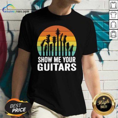 Show Me Your Guitars Vintage Retro V-neck - Design By Weathertees.com