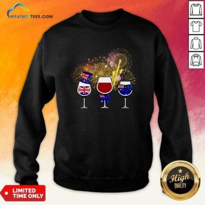Three Wine England Flag Happy Sweatshirt - Design By Weathertees.com
