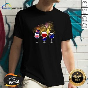 Three Wine England Flag Happy V-neck - Design By Weathertees.com