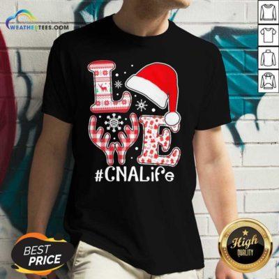 Love Hat Santa And Reindeer #CNA Life Worker Ugly Christmas V-neck - Design By Weathertees.com