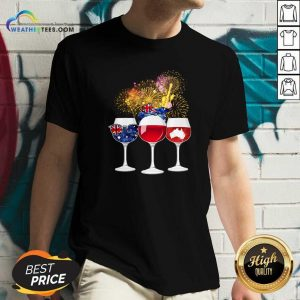 Three Wine England Flag Map Happy V-neck - Design By Weathertees.com