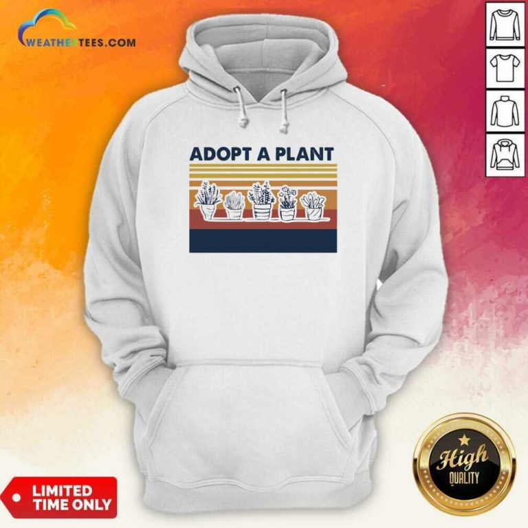 Adopt A Plant Vintage Retro Hoodie - Design By Weathertees.com