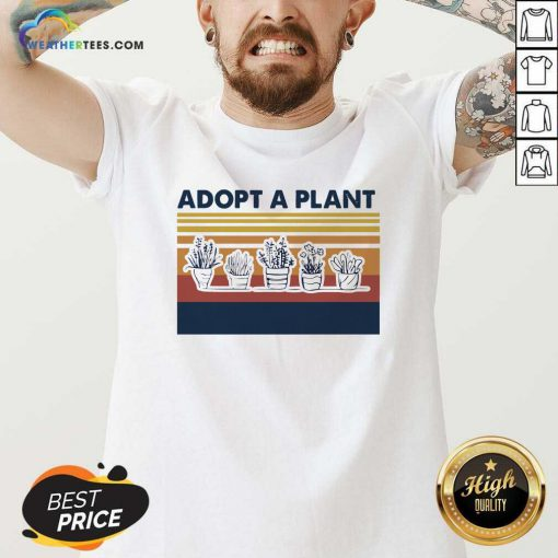 Adopt A Plant Vintage Retro V-neck - Design By Weathertees.com