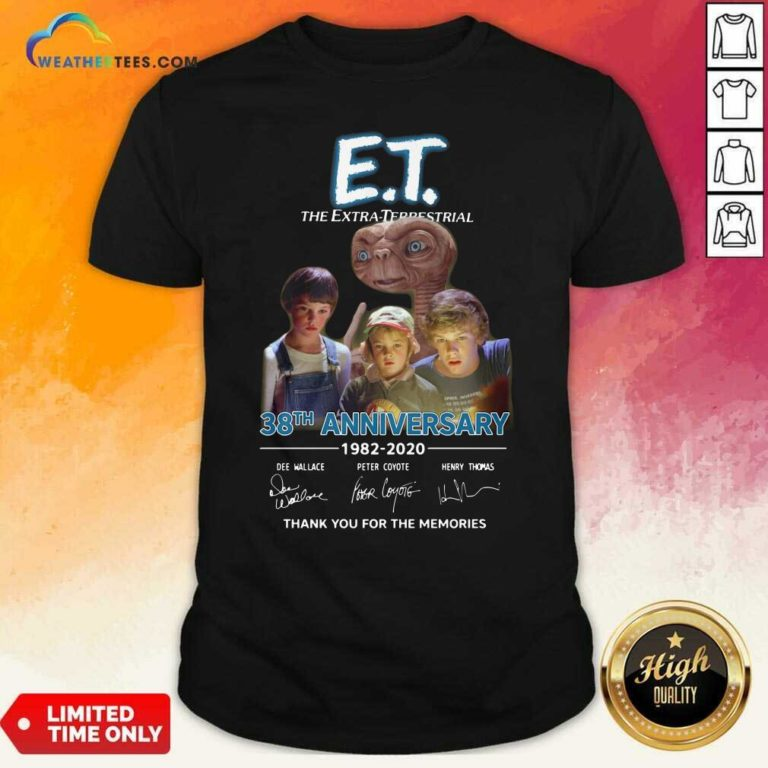 E.T. The Extra Terrestrial 38th Anniversary 1982 2020 Thank You For The Memories Signatures Shirt - Design By Weathertees.com