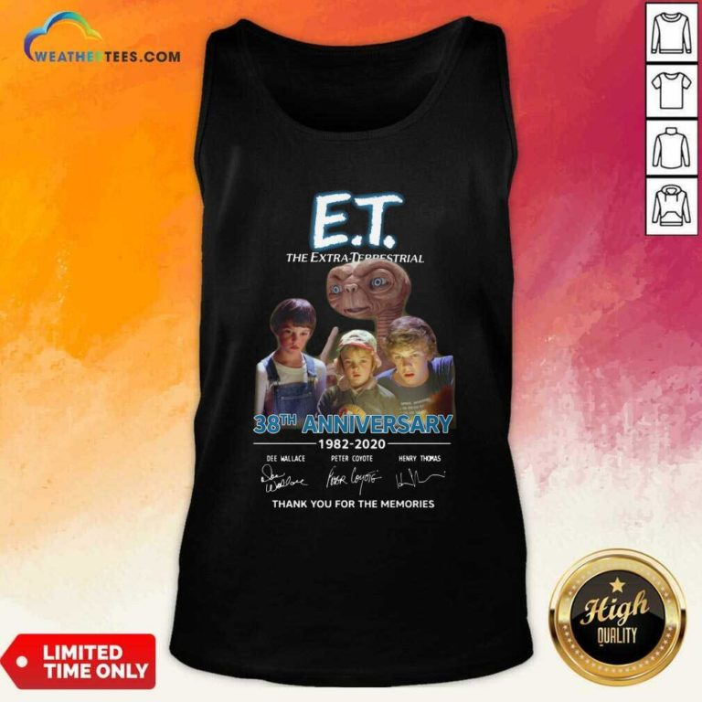 E.T. The Extra Terrestrial 38th Anniversary 1982 2020 Thank You For The Memories Signatures Tank Top - Design By Weathertees.com