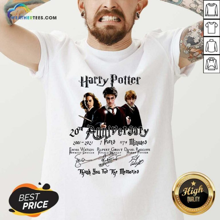 Harry Potter 20th Anniversary 2001 2021 7 Parts 1179 Minutes Signatures V-neck - Design By Weathertees.com