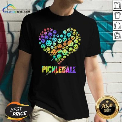 Heart Pickleball V-neck - Design By Weathertees.com