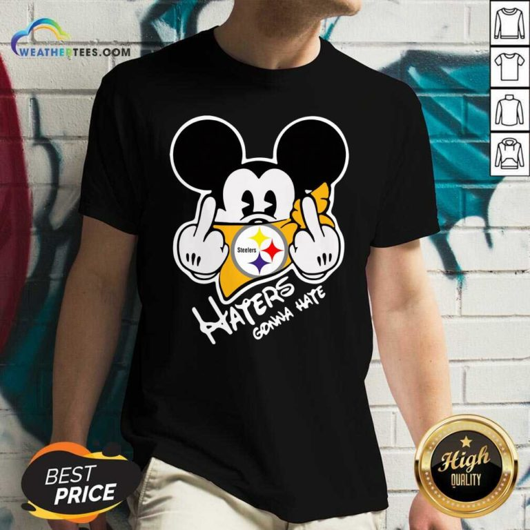 Mickey Mouse Face Mask Pittsburgh Steelers Fuck Haters Gonna Hate V-neck - Design By Weathertees.com
