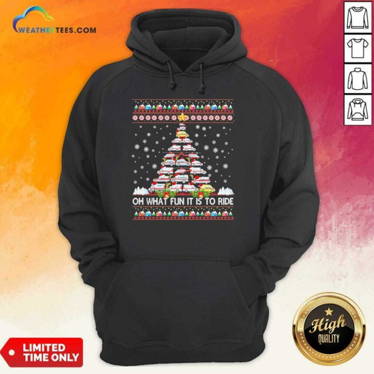 Oh What Fun It Is To Ride Tree Christmas Hoodie - Design By Weathertees.com