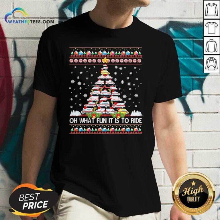Oh What Fun It Is To Ride Tree Christmas V-neck - Design By Weathertees.com