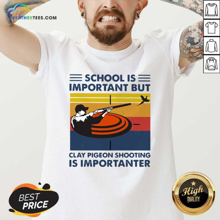 School Is Important But Clay Pigeon Shooting Is Importanter Vintage Retro V-neck - Design By Weathertees.com
