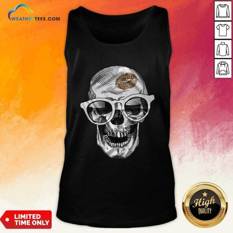 Skull Leopard Lip Tank Top - Design By Weathertees.com