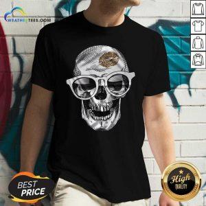 Skull Leopard Lip V-neck - Design By Weathertees.com