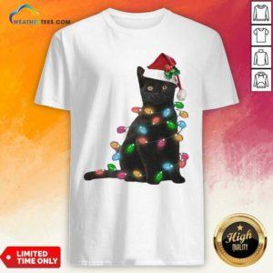 Black Cat Hat Santa Happy Light Christmas 2020 Shirt - Design By Weathertees.com