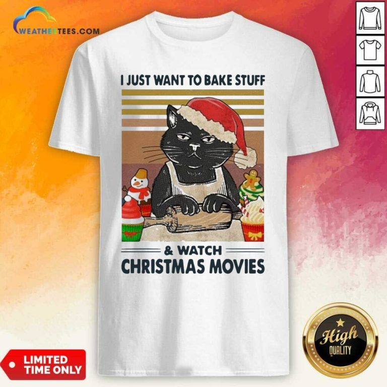 Black Cat I Just Want To Bake Stuff And Watch Christmas Movie Vintage Shirt - Design By Weathertees.com
