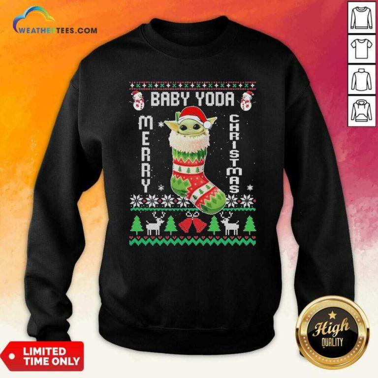 Baby Yoda Hat Santa Ugly Merry Christmas 2020 Sweatshirt - Design By Weathertees.com