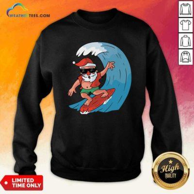 Santa Surfing Christmas Sweatshirt - Design By Weathertees.com