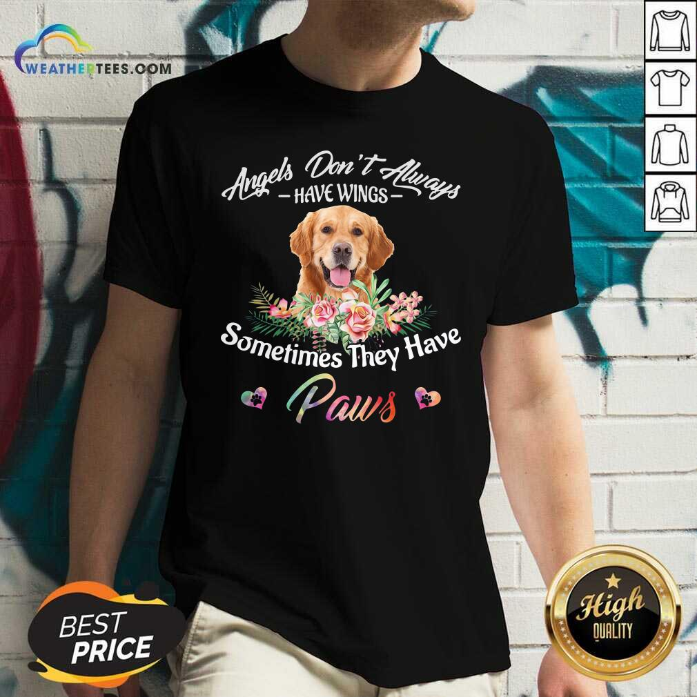 Angels Don't Always Have Wings Golden Retriever Sometimes They Have Paws V-neck - Design By Weathertees.com