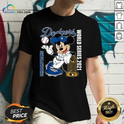 Mickey Mouse Los Angeles Dodgers Champions World Series 2021 V-neck - Design By Weathertees.com