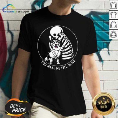 Skeleton Hug Corgi You Make Me Feel Alive V-neck - Design By Weathertees.com