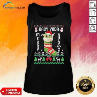 Baby Yoda Hat Santa Ugly Merry Christmas 2020 Tank Top - Design By Weathertees.com