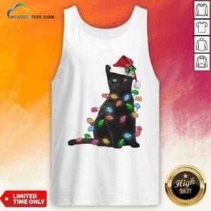 Black Cat Hat Santa Happy Light Christmas 2020 Tank Top - Design By Weathertees.com