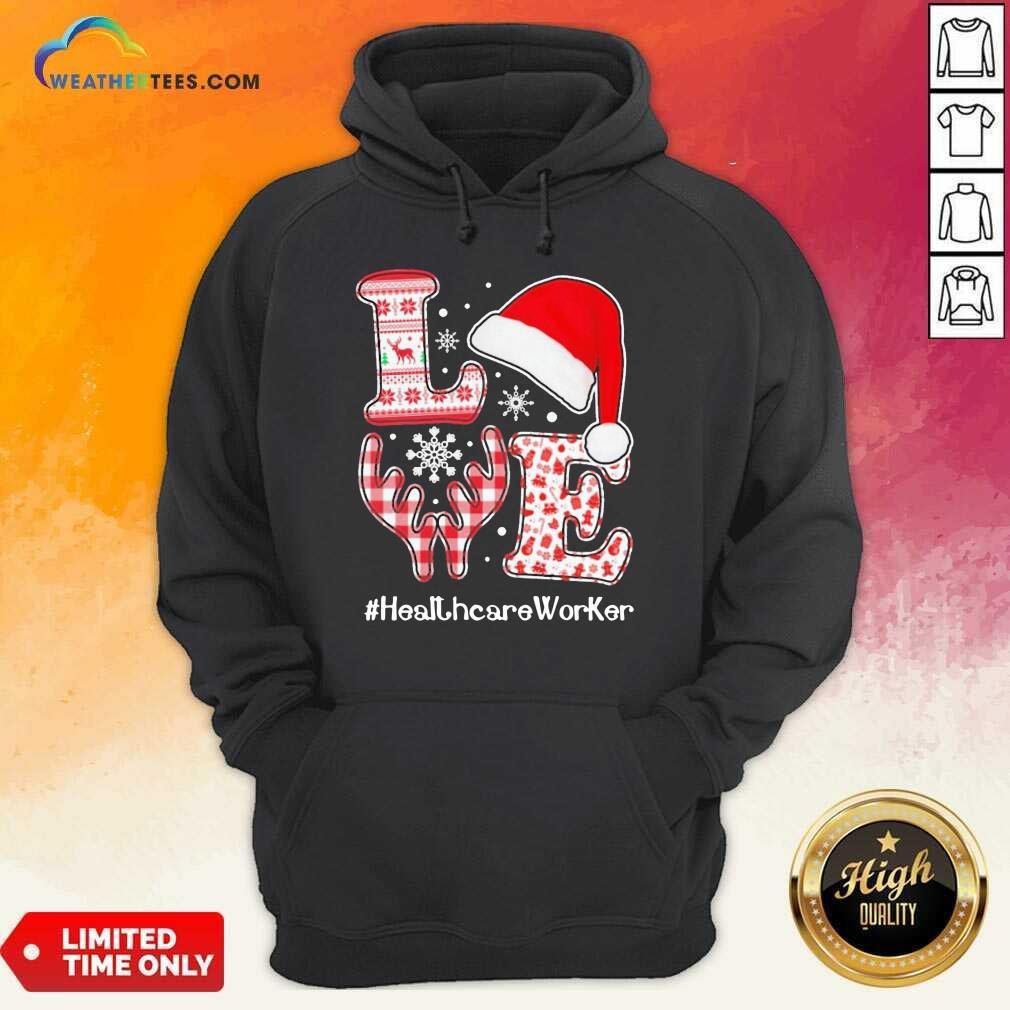 Love Hat Santa And Reindeer #Heathcare Worker Ugly Christmas Hoodie - Design By Weathertees.com