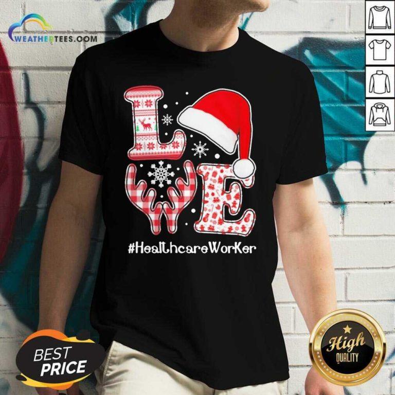 Love Hat Santa And Reindeer #Heathcare Worker Ugly Christmas V-neck - Design By Weathertees.com