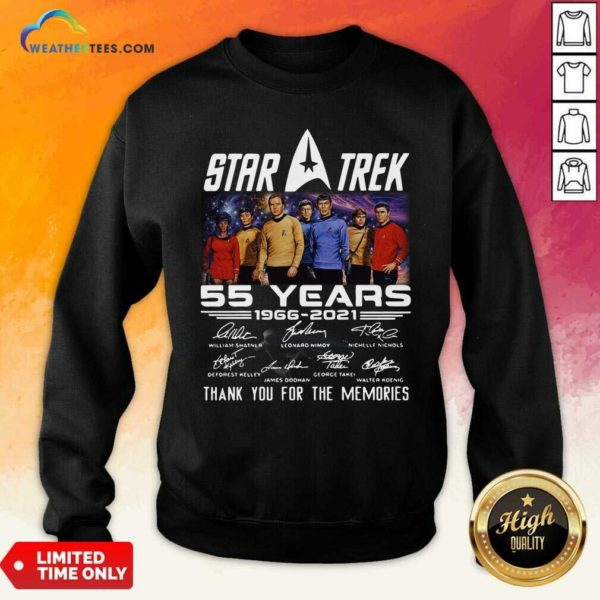 Star Trek 55 Years 1966 2021 Thank You For The Memories Signatures Sweatshirt - Design By Weathertees.com