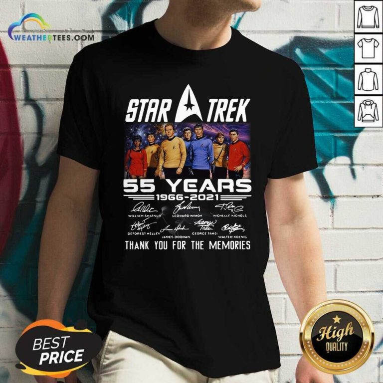 Star Trek 55 Years 1966 2021 Thank You For The Memories Signatures V-neck - Design By Weathertees.com