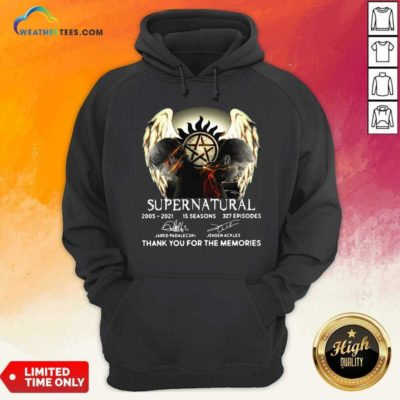 Supernatural 2005 2021 15 Seasons 327 Episodes Thank You For The Memories Signatures Hoodie - Design By Weathertees.com