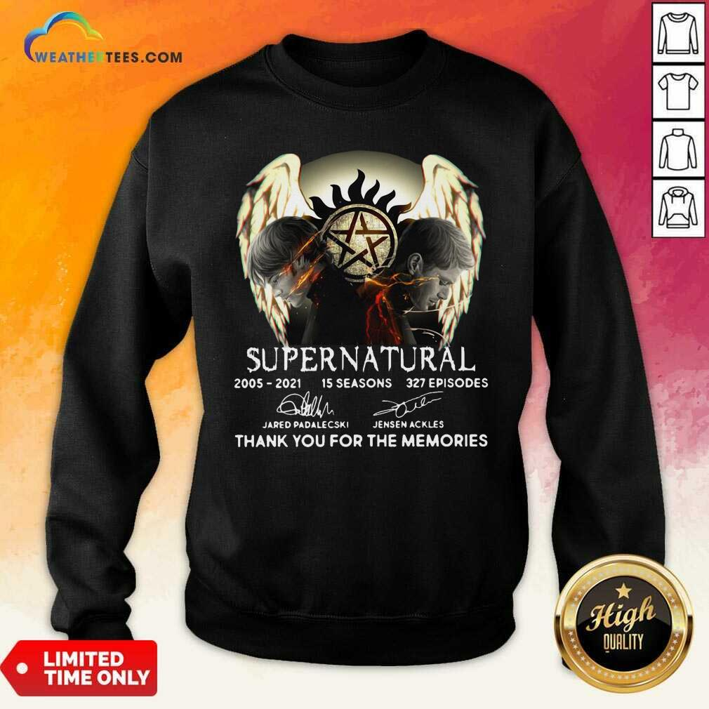 Supernatural 2005 2021 15 Seasons 327 Episodes Thank You For The Memories Signatures Sweatshirt - Design By Weathertees.com