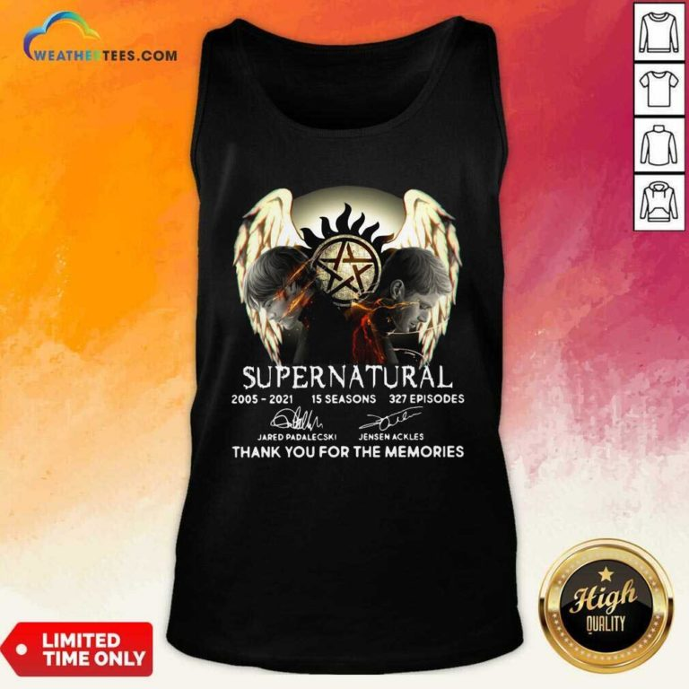Supernatural 2005 2021 15 Seasons 327 Episodes Thank You For The Memories Signatures Tank Top - Design By Weathertees.com