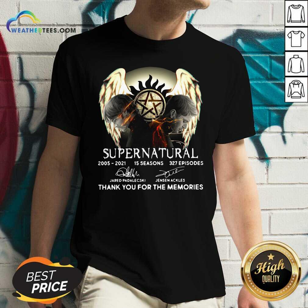 Supernatural 2005 2021 15 Seasons 327 Episodes Thank You For The Memories Signatures V-neck - Design By Weathertees.com