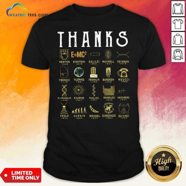 Thanks Newton 1642 Einstein 1879 Galilei 1564 Maxwell 1831 Feynman 1918 Fibonacci 1170 Shirt - Design By Weathertees.com