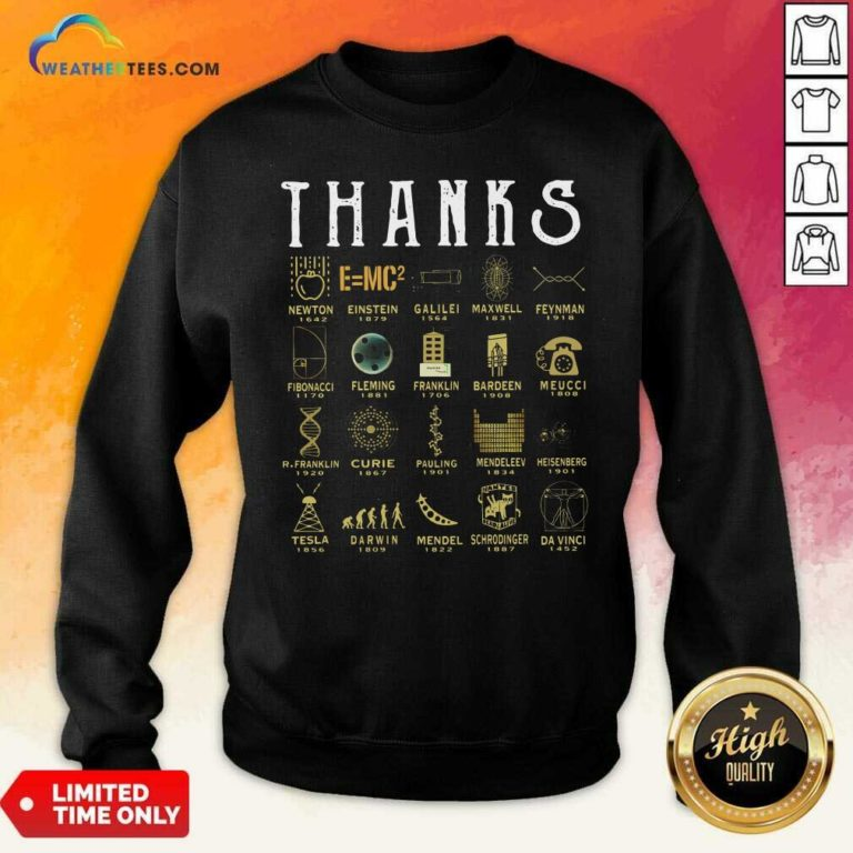 Thanks Newton 1642 Einstein 1879 Galilei 1564 Maxwell 1831 Feynman 1918 Fibonacci 1170 Sweatshirt - Design By Weathertees.com