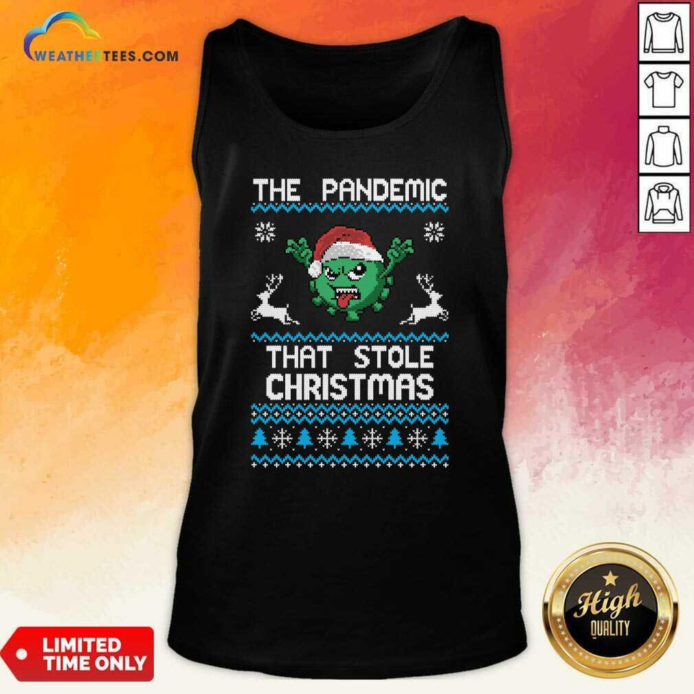 The Pandemic That Stole Christmas Corona Virus Wear Santa Hat Tank Top - Design By Weathertees.com