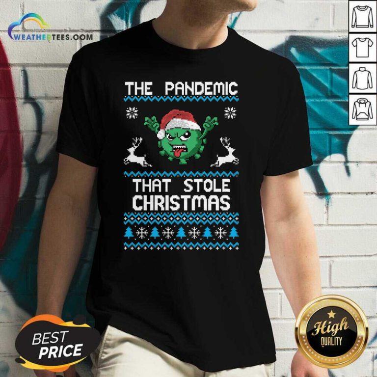 The Pandemic That Stole Christmas Corona Virus Wear Santa Hat V-neck - Design By Weathertees.com