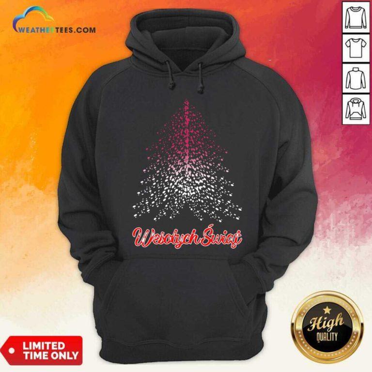 Wesolych Swiat Polish Flag Christmas Tree Hoodie - Design By Weathertees.com