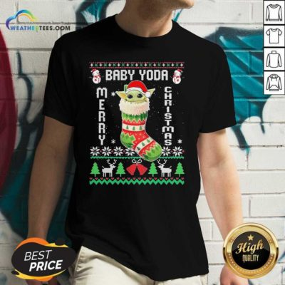 Baby Yoda Hat Santa Ugly Merry Christmas 2020 V-neck - Design By Weathertees.com