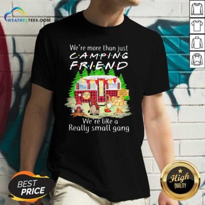 We're More Than Just Camping Friend We're Like A Really Small Gang Gnome Xmas V-neck - Design By Weathertees.com