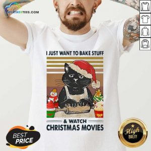 Black Cat I Just Want To Bake Stuff And Watch Christmas Movie Vintage V-neck - Design By Weathertees.com