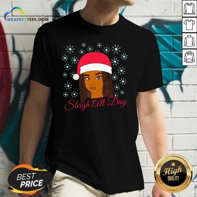 Christmas Melanin Sleigh All Day V-neck - Design By Weathertees.com