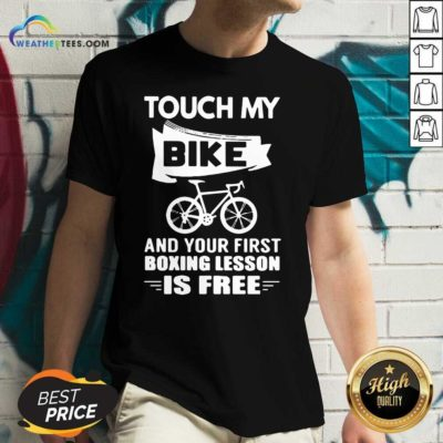 Touch My Bike And Your First Boxing Lesson Is Free V-neck - Design By Weathertees.com