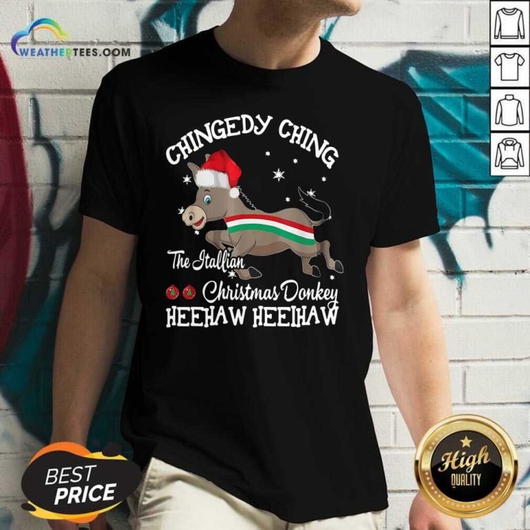 Chingedy Ching Dominick The Christmas Donkey Hee Haw Hee Haw V-neck - Design By Weathertees.com